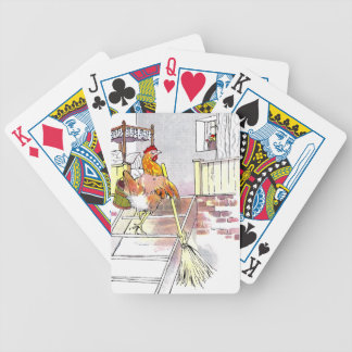 Hen with Broom Mounting Stairs to Bedroom Bicycle Playing Cards