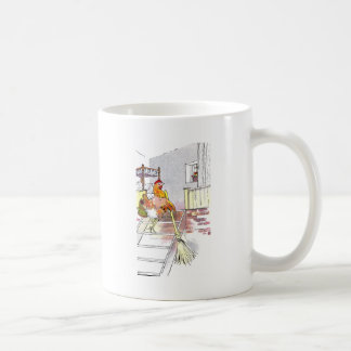 Hen with Broom Mounting Stairs to Bedroom Coffee Mug
