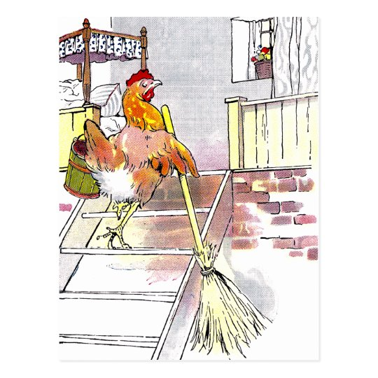Hen with Broom Mounting Stairs to Bedroom Postcard