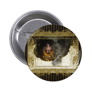 hen with chick animal brown stripes ornament 2 inch round button