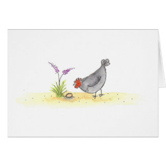 Hen With Egg And Flower Card