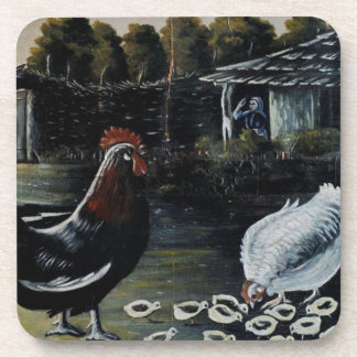 Hen with her chicks by Niko Pirosmani Drink Coaster