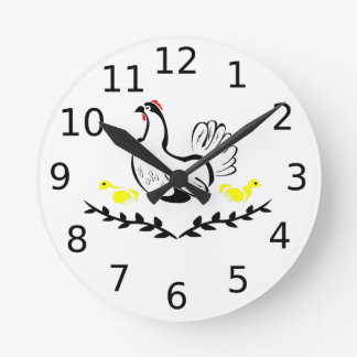 Hen with Two Yellow Chicks Round Clock