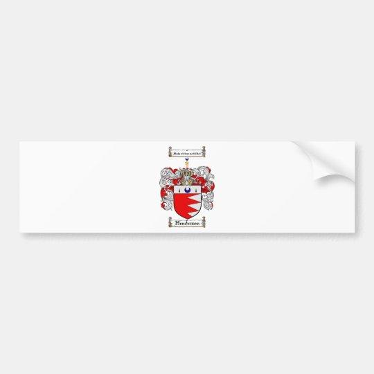 HENDERSON FAMILY CREST -  HENDERSON COAT OF ARMS BUMPER STICKER