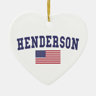 Henderson US Flag Double-Sided Heart Ceramic Christmas Ornament