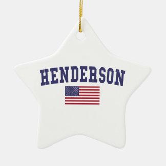 Henderson US Flag Double-Sided Star Ceramic Christmas Ornament