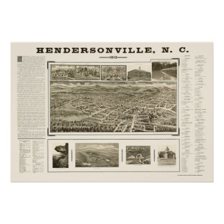 Hendersonville, NC Panoramic Map - 1913 Posters