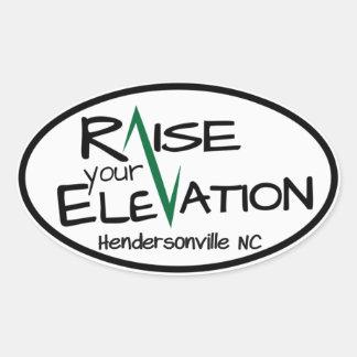 Hendersonville NC Raise Your Elevation Oval Sticke Oval Sticker
