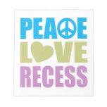 Hendidura del amor de la paz libretas para notas