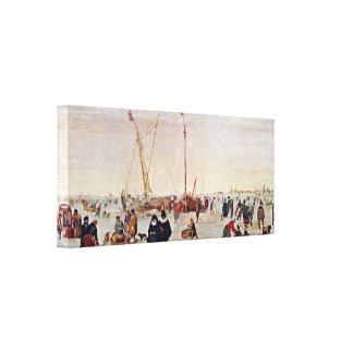 Hendrick Avercamp - IJsgezicht Canvas Print