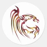 Henham el dragón metálico del rojo y del oro pegatina redonda