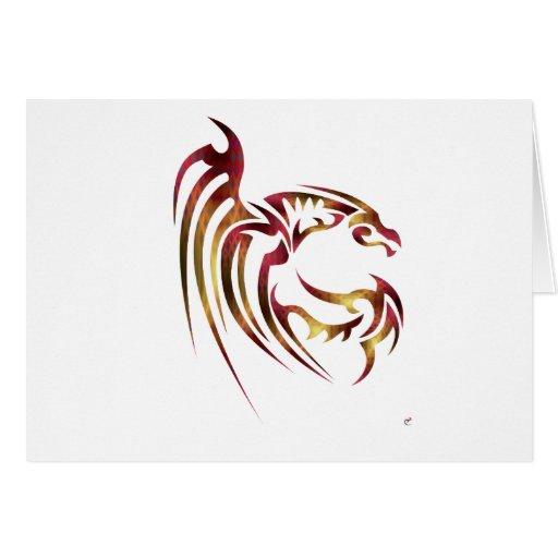 Henham el dragón metálico del rojo y del oro tarjetas