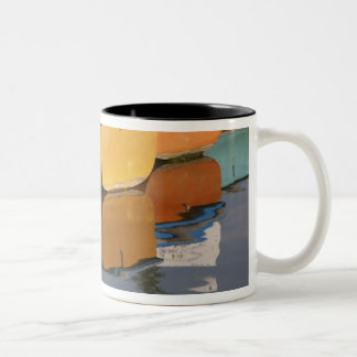 Henley-on-Thames row boats on the Thames River, Two-Tone Coffee Mug