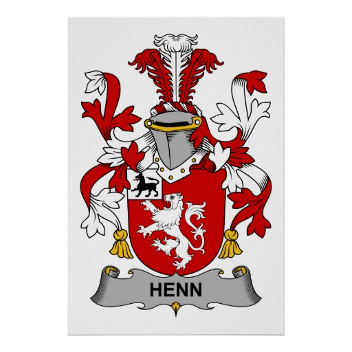 Henn family crest poster zazzle for Personalized last name university shirts