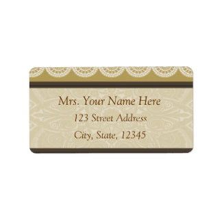 Henna and Lace Tan Address Lables Label