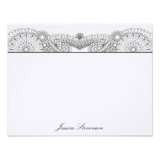 Henna Custom Flat Note Card (black) Custom Invite
