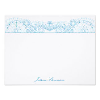 Henna Custom Flat Note Card (blue) Custom Invites