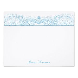 "Henna Custom Flat Note Card (blue) 4.25"" X 5.5"" Invitation Card"