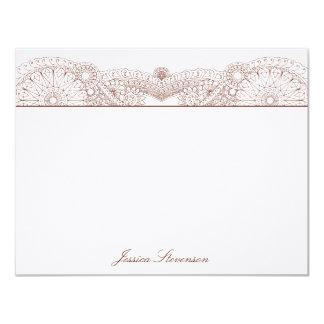 Henna Custom Flat Note Card (chocolate) Invites