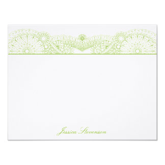 Henna Custom Flat Note Card (green) Custom Invites