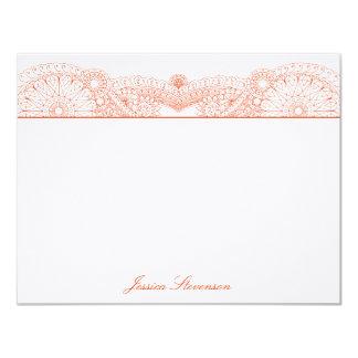 Henna Custom Flat Note Card (orange) Custom Invitation