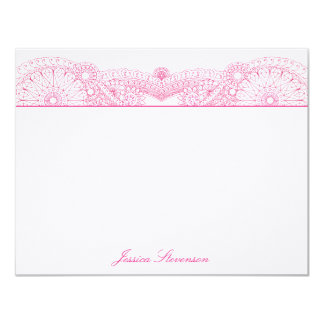 Henna Custom Flat Note Card (pink) Personalized Invite