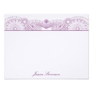 Henna Custom Flat Note Card (purple) Custom Invites