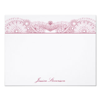 Henna Custom Flat Note Card (red) Invitations