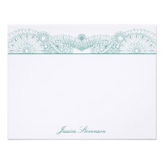 Henna Custom Flat Note Card (teal) Custom Invitations