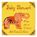 Henna Elephant (Baby Shower) 5.25x5.25 Square Paper Invitation Card