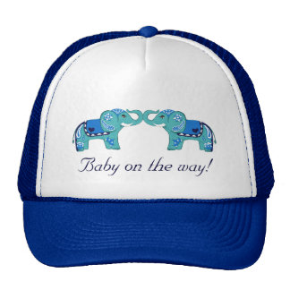 Henna Elephant (Blue/Light Blue) (Baby Shower) Trucker Hat