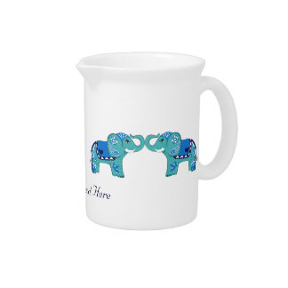 Henna Elephant (Blue/Light Blue) Beverage Pitcher