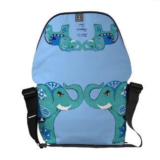 Henna Elephant (Blue/Light Blue) Courier Bag
