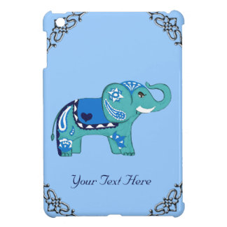 Henna Elephant (Blue/Light Blue) Cover For The iPad Mini