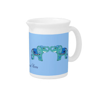 Henna Elephant (Blue/Light Blue) Pitcher