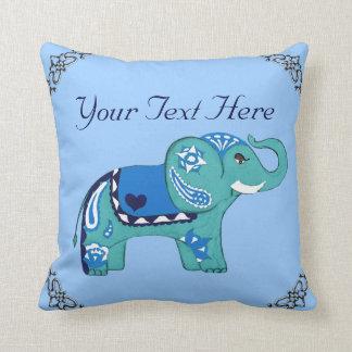Henna Elephant (Blue/Light Blue) Throw Pillow