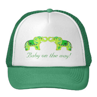 Henna Elephant (Green/Lime Green) (Baby Shower) Trucker Hats