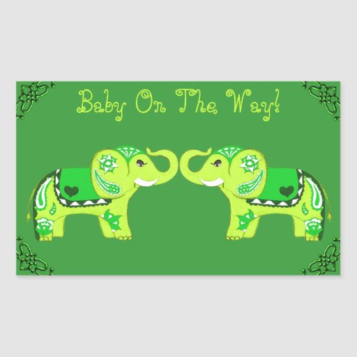 Henna Elephant (Green/Lime Green) (Baby Shower) Rectangular Sticker
