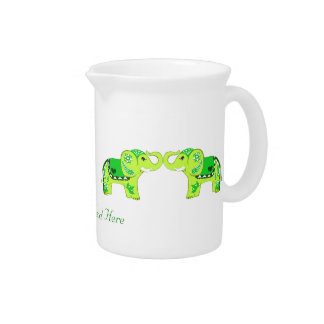 Henna Elephant (Green/Lime Green) Beverage Pitcher