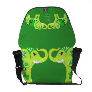 Henna Elephant (Green/Lime Green) Courier Bag
