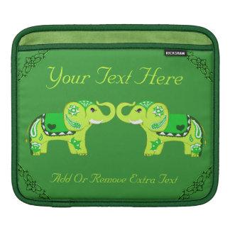 Henna Elephant (Green/Lime Green) iPad Sleeves
