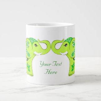 Henna Elephant (Green/Lime Green) Large Coffee Mug