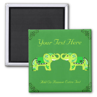 Henna Elephant (Green/Lime Green) Magnet