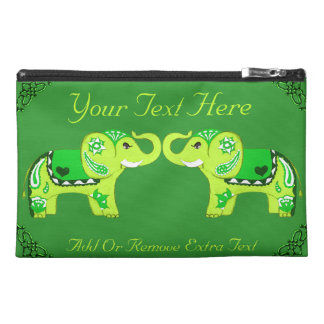Henna Elephant (Green/Lime Green) Travel Accessory Bag