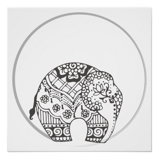 Henna Elephant Indian Art Poster