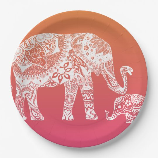 Henna Elephant Indian Inspiration Paper Plate Zazzle Com