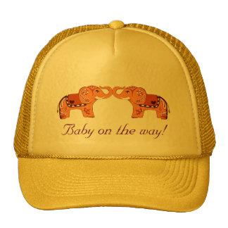 Henna Elephant (Orange/Red) (Baby Shower) Trucker Hat
