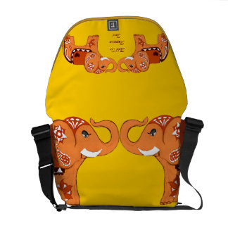 Henna Elephant (Orange/Red) Courier Bag