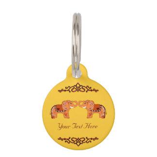 Henna Elephant (Orange/Red) Pet ID Tag