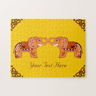 Henna Elephant (Orange/Red) Puzzle